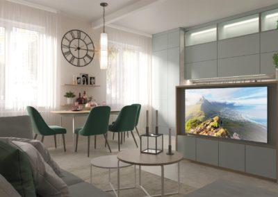Návrh – kuchyň a obývací pokoj – Brno